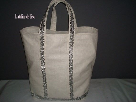 Sac en lin beige XL sequins
