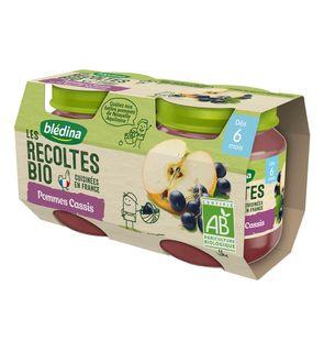 Les Récoltes Bio 2 Petits Pots Pommes Cassis dès 6 mois 2 x 130 g - Pack de 12