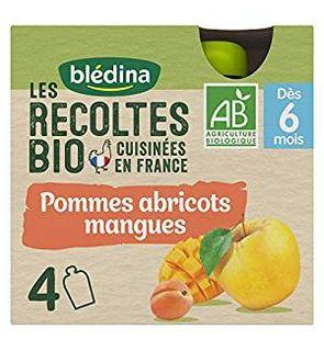 Les Récoltes Bio 24 gourdes Bio Pommes Mangues Abricots Desserts Mixtes (Pack de 6x4 gourdes)
