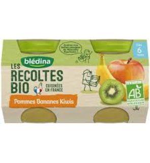 Blédina Les Récoltes Bio 2 Petits Pots Pommes Bananes Kiwi dès 6 mois 2 x 130 g - Pack de 12