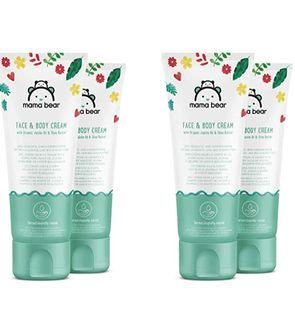 Crème pour bébé pour le visage et le corps avec huile de Jojoba et beurre de Karité biologiques - 4 tubes