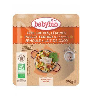 Sachets de menu Pois-chiches Légumes Poulet fermier du Poitou Semoule Lait de coco