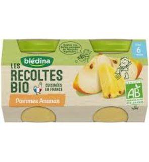 Les Récoltes Bio 2 Petits Pots Pommes Ananas dès 6 mois 2 x 130 g - Pack de 12