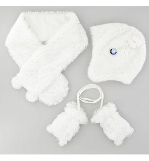 Ensemble accessoires bébé fourrure blanche 3 au 12 mois