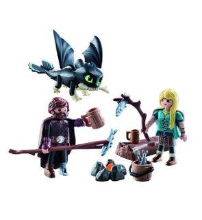 Harold et Astrid avec un bébé dragon (70040) de Playmobil.