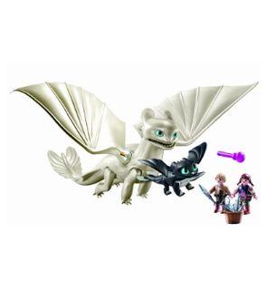 Furie Éclair et bébé dragon avec les enfants (70038) de Playmobil.