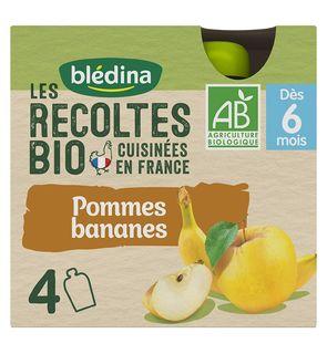 Les Récoltes Bio 24 gourdes Bio Pommes/Bananes Desserts Mixtes (Pack de 6x4 gourdes)