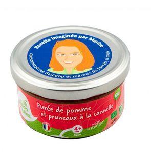 Purée pomme et pruneaux à la cannelle, Biocoop et La Potion des Lutins.