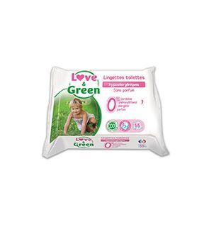 Lingettes Toilettes Hypoallergéniques 0%, Love & Green