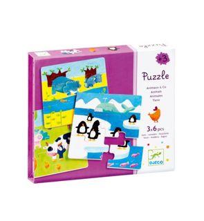 3 puzzles de 6 pièces animaux