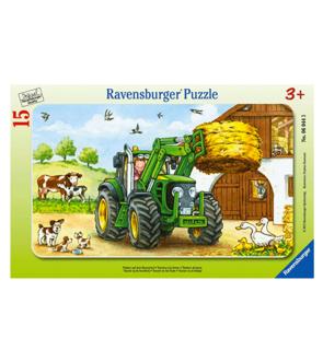 Puzzle cadre Tracteur à la ferme