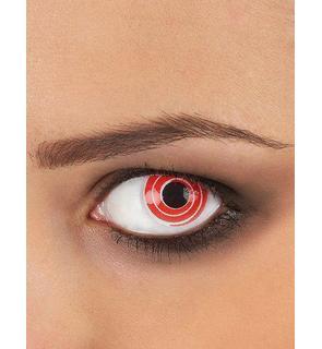 Lentilles de contact fantaisie spirale rouge et blanche adulte