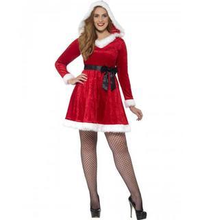 Déguisement robe rouge avec noeud noir femme Noël