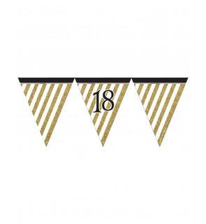 Guirlande à fanions noir et or 18 ans 3,7m
