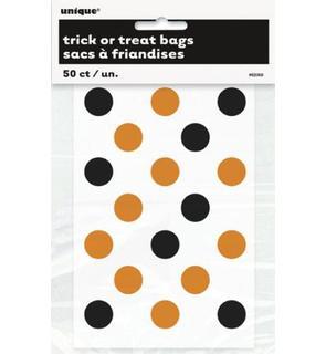 Petits sacs à friandises transparent à pois orange et noir Halloween