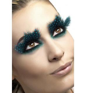 Faux cils plumes noires à pois bleus adulte