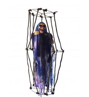 Décoration à suspendre squelette lumineux en cage