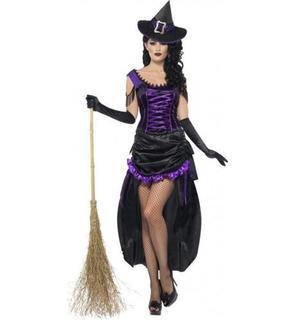 Déguisement sorcière violette sexy femme Halloween