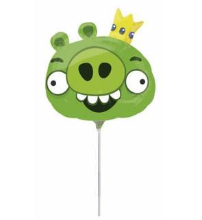 Ballon aluminum Angry Birds? vert  20 cm