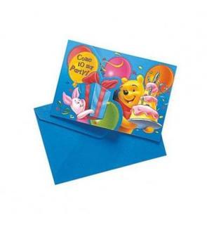 6 Cartes invitation + enveloppes Winnie birthday?
