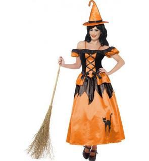 Déguisement sorcière noir et orange femme Halloween