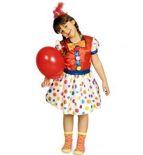 Déguisement clown à pois multicolores fille