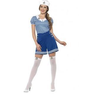 Déguisement marin bleu en short femme