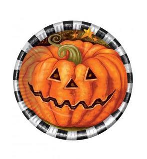 6 assiettes en carton Citrouille Halloween 23 cm