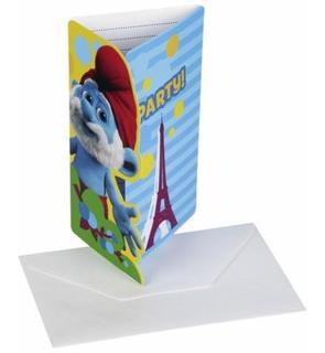 6 Cartes d'invitation + enveloppes Les Schtroumpfs?