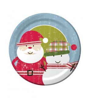 8 Grandes assiettes Père Noël rétro