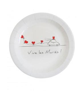 10 Assiettes Vive les mariés  23 cm