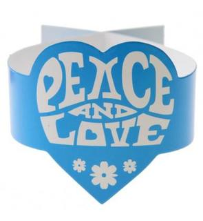 6 Ronds de serviette turquoise Hippie Peace and Love