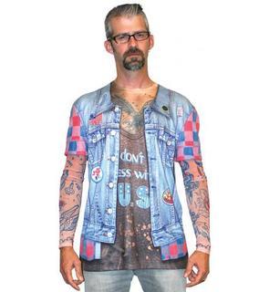 T-Shirt veste en jean tatouage adulte