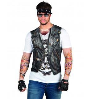 T-Shirt veste motard tatouages adulte