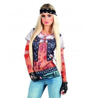 T-Shirt rockeuse tatouages femme