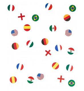 150 confettis de table drapeau multinations