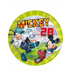 8 Assiettes en carton Mickey goal? 23 cm