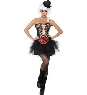 Déguisement squelette poitrine ouverte femme Halloween