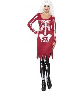 Déguisement squelette rouge femme Halloween