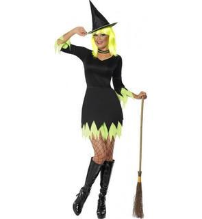 Déguisement sorcière noire et verte femme Halloween