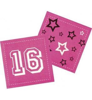 12 Serviettes en papier Rose 16 ans 33 x 33 cm