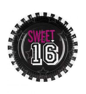 Lot 6 assiettes noires sweet 16