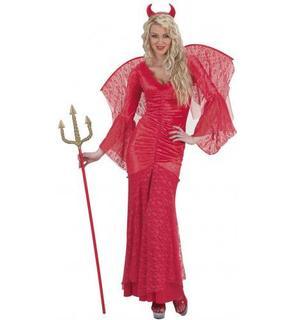 Déguisement diablesse dentelle rouge femme Halloween