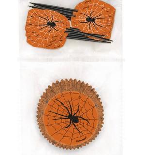 24 Moules à cupcakes et pics de décoration Halloween