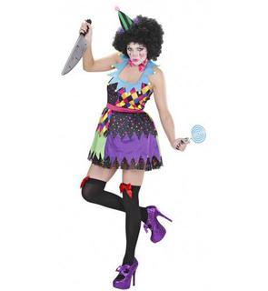 Déguisement clown terrifiant multicolore femme Halloween