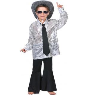 Chemise disco argentée garçon