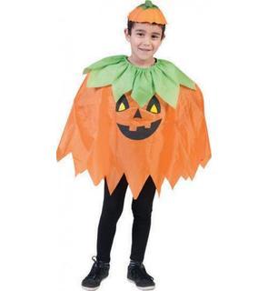 Poncho citrouille enfant Halloween