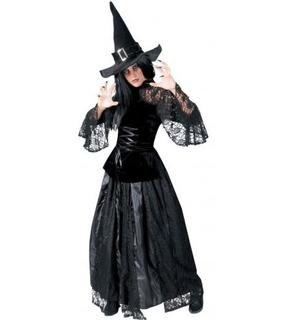 Déguisement sorcière noir dentellée femme Halloween