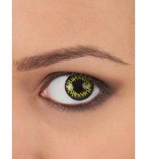 Lentilles de contact fantaisie jaune bords noirs adulte