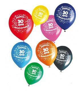 Sachet 8 ballons 30 ans